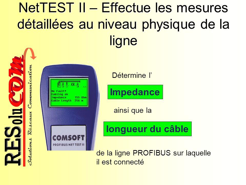 Solutions Réseaux Communication COM olu RES NetTEST II – Effectue les mesures détaillées au niveau physique de la ligne Détermine l Impedance longueur