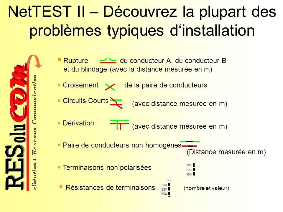 Solutions Réseaux Communication COM olu RES NetTEST II – Découvrez la plupart des problèmes typiques dinstallation Rupture du conducteur A, du conduct