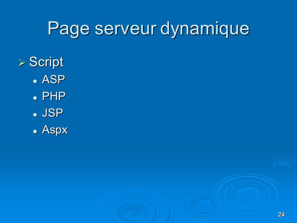 24 Page serveur dynamique Script Script ASP ASP PHP PHP JSP JSP Aspx Aspx