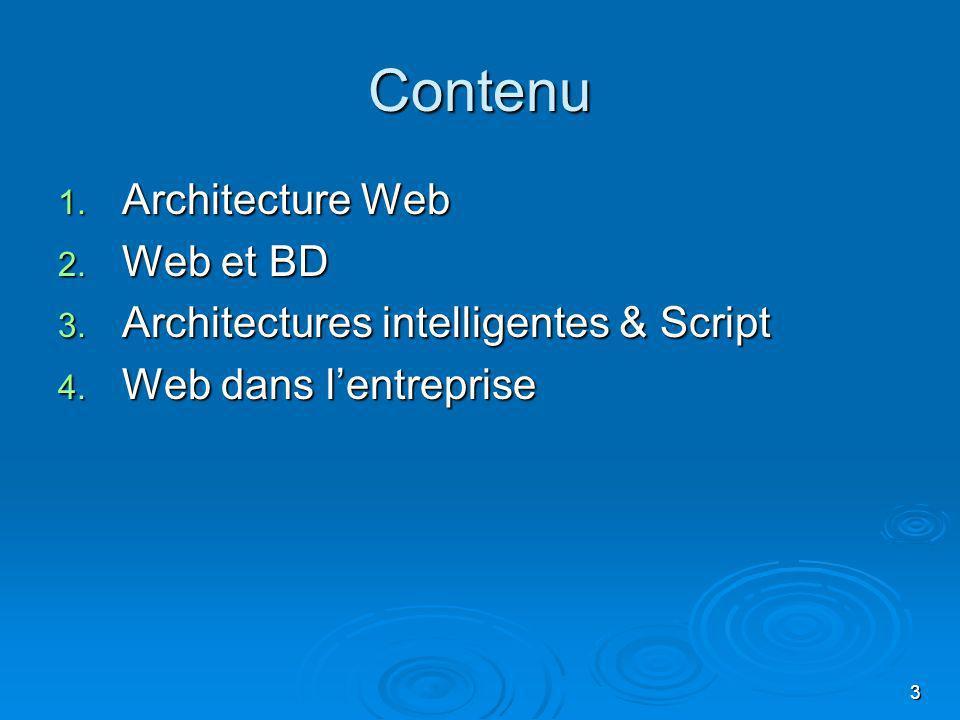 3 Contenu 1. Architecture Web 2. Web et BD 3. Architectures intelligentes & Script 4. Web dans lentreprise