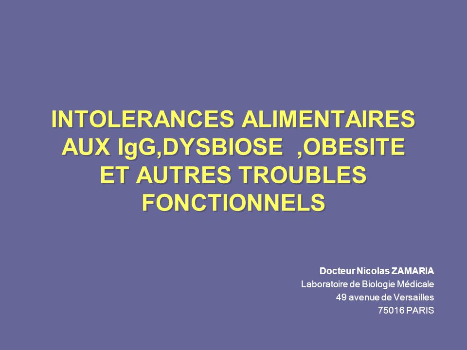 LOWMEDIUMHIGH n = 66 n = 65 p< 0.001 IBS SYMPTOM SEVERITY LEVEL OF ADHERENCE LA SYMPTOMATOLOGIE DEPEND DU NIVEAU DADHESION A LEVICTION DES ALIMENTS NON TOLERES (IgG ) EVOLUTION DE LA SYMPTOMATOLOGIE EN FONCTION DU TEMPS APRES EVICTION DES ALIMENTS NON TOLERES (IgG ) IBS SYMPTOM SEVERITY TIME (WEEKS) p< 0.001 Atkinson W et al GUT 2004, 53, 1459 - 1464