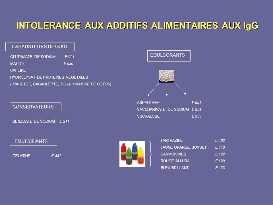INTOLERANCE AUX ADDITIFS ALIMENTAIRES AUX IgG GLUTAMATE DE SODIUM E 621 MALTOL E 636 CAFEINE HYDROLYSAT DE PROTEINES VEGETALES ( MAÏS, BLE, CACAHUETTE