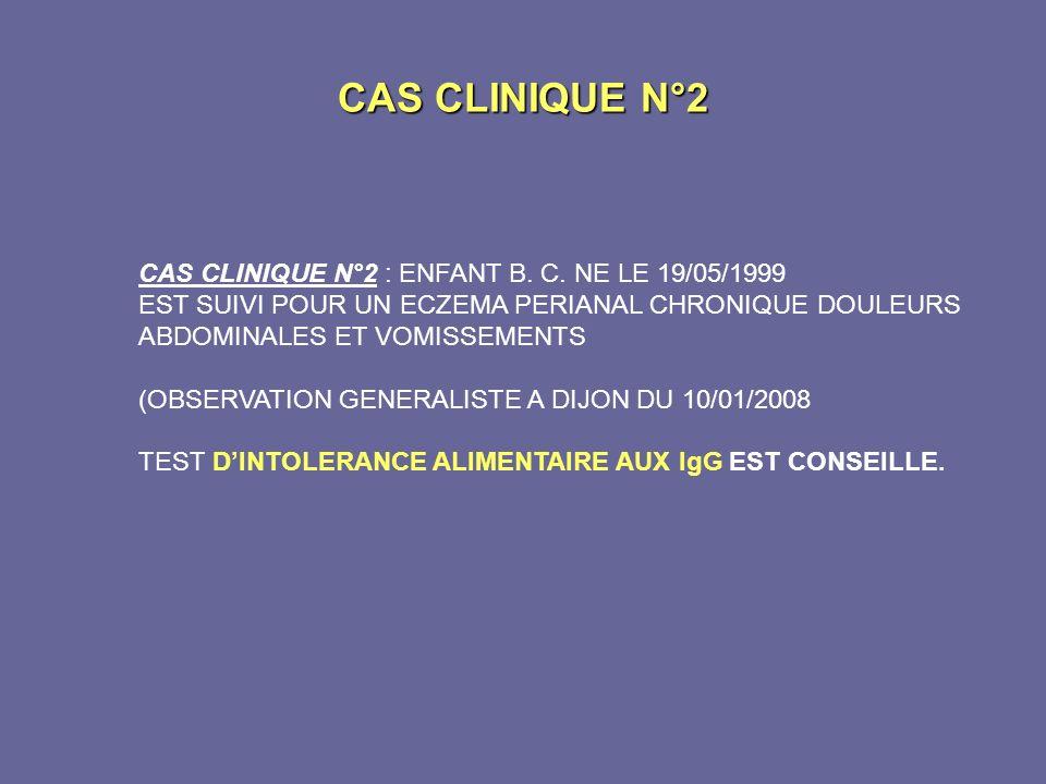 CAS CLINIQUE N°2 CAS CLINIQUE N°2 : ENFANT B. C. NE LE 19/05/1999 EST SUIVI POUR UN ECZEMA PERIANAL CHRONIQUE DOULEURS ABDOMINALES ET VOMISSEMENTS (OB