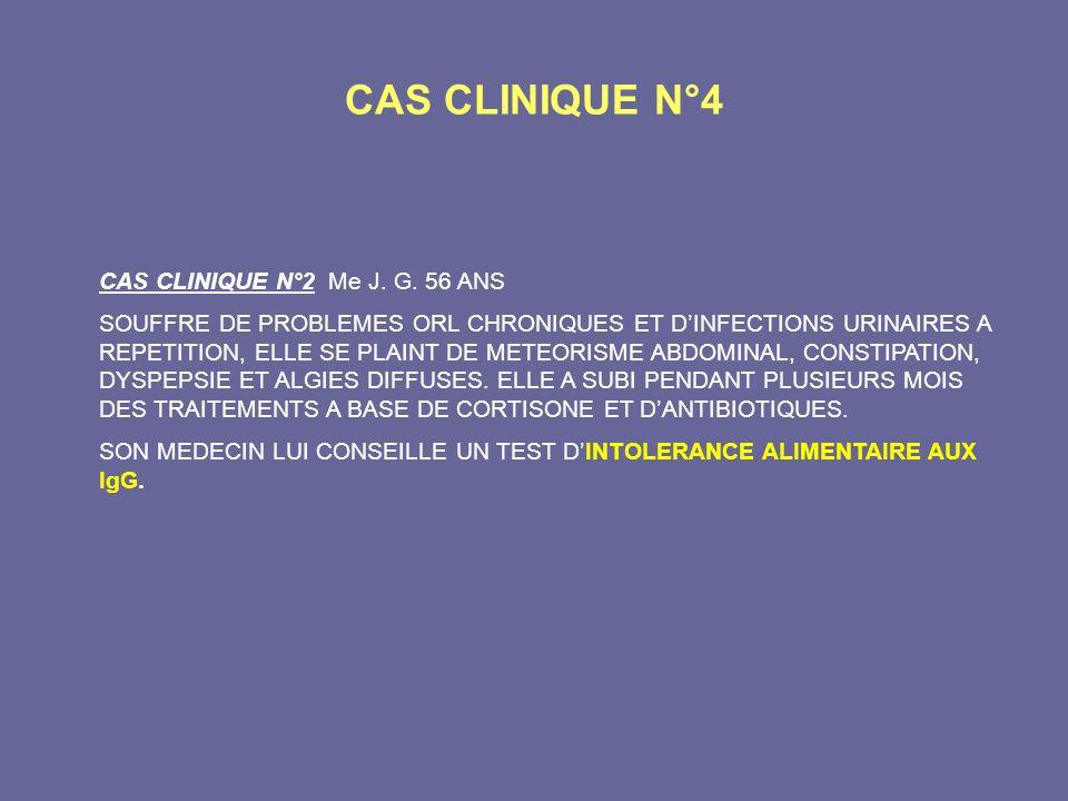 CAS CLINIQUE N°4 CAS CLINIQUE N°2 Me J. G. 56 ANS SOUFFRE DE PROBLEMES ORL CHRONIQUES ET DINFECTIONS URINAIRES A REPETITION, ELLE SE PLAINT DE METEORI