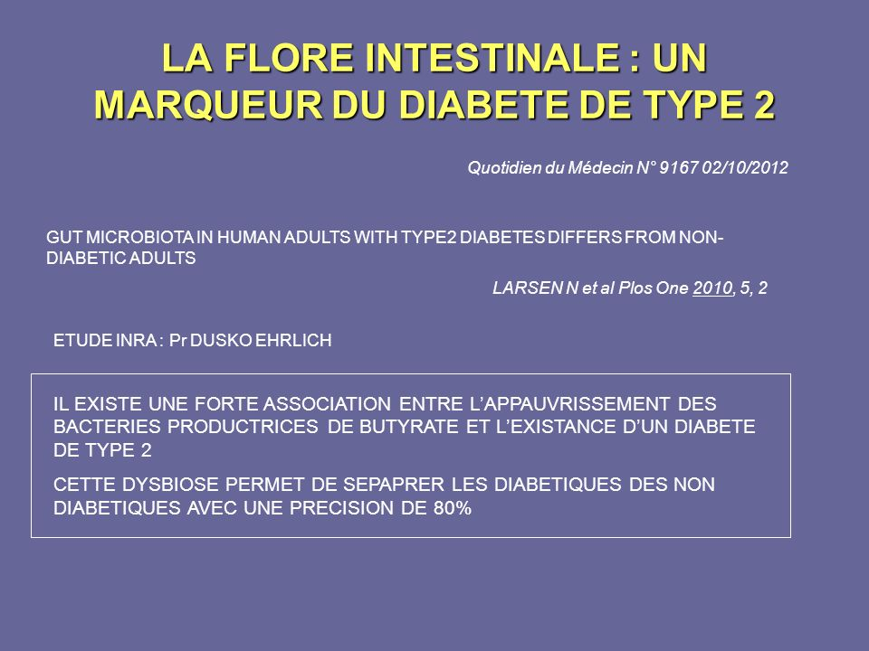 Quotidien du Médecin N° 9167 02/10/2012 GUT MICROBIOTA IN HUMAN ADULTS WITH TYPE2 DIABETES DIFFERS FROM NON- DIABETIC ADULTS LARSEN N et al Plos One 2