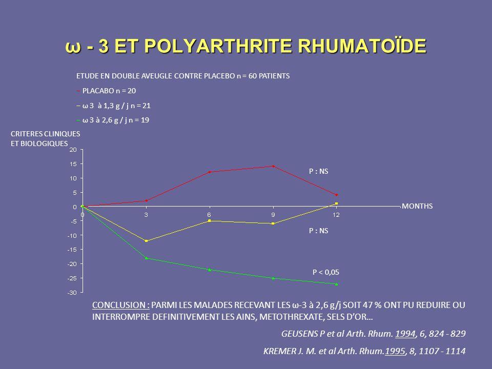 ω - 3 ET POLYARTHRITE RHUMATOÏDE ETUDE EN DOUBLE AVEUGLE CONTRE PLACEBO n = 60 PATIENTS PLACABO n = 20 ω 3 à 1,3 g / j n = 21 ω 3 à 2,6 g / j n = 19 P