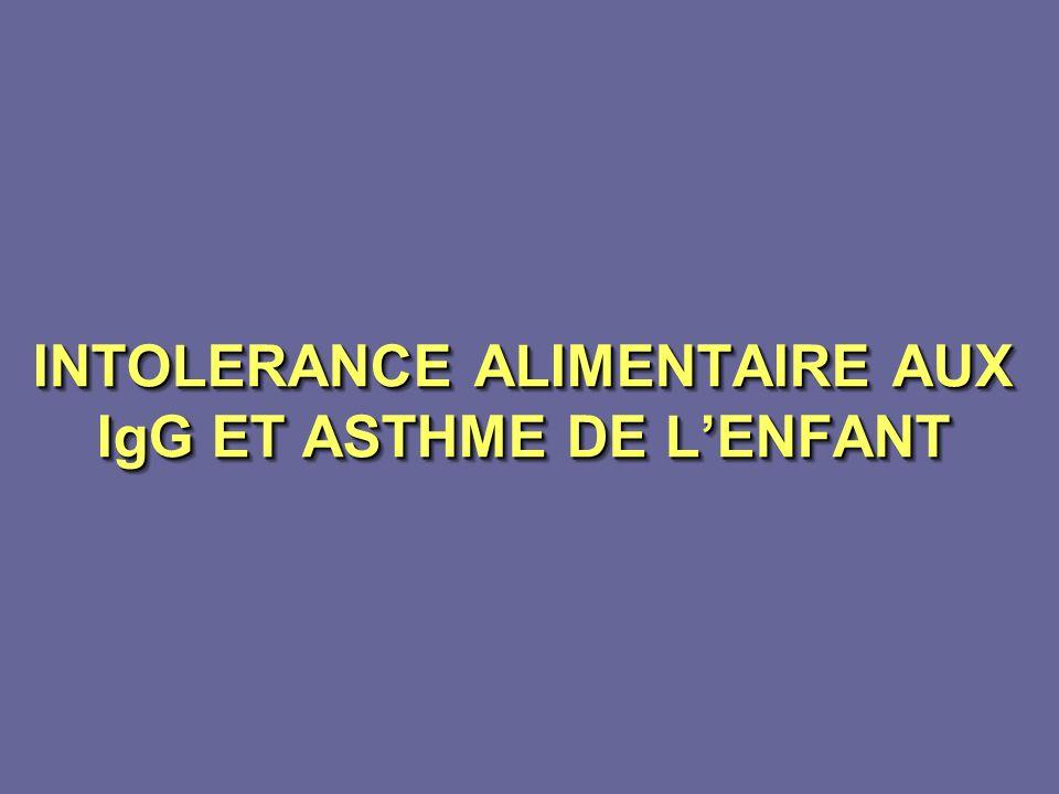 INTOLERANCE ALIMENTAIRE AUX IgG ET ASTHME DE LENFANT INTOLERANCE ALIMENTAIRE AUX IgG ET ASTHME DE LENFANT