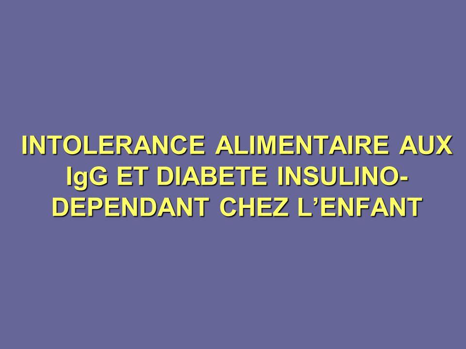 INTOLERANCE ALIMENTAIRE AUX IgG ET DIABETE INSULINO- DEPENDANT CHEZ LENFANT