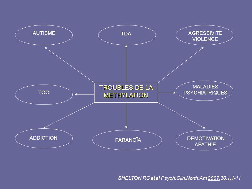 TROUBLES DE LA METHYLATION AUTISME TDA AGRESSIVITE VIOLENCE TOC MALADIES PSYCHIATRIQUES ADDICTION PARANOÏA DEMOTIVATION APATHIE SHELTON RC et al Psych