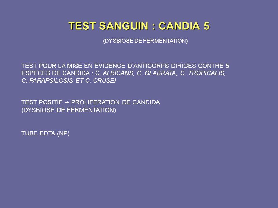 TEST SANGUIN : CANDIA 5 (DYSBIOSE DE FERMENTATION) TEST POUR LA MISE EN EVIDENCE DANTICORPS DIRIGES CONTRE 5 ESPECES DE CANDIDA : C. ALBICANS, C. GLAB
