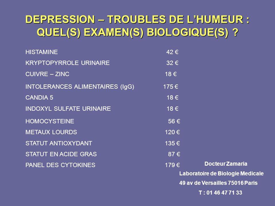 DEPRESSION – TROUBLES DE LHUMEUR : QUEL(S) EXAMEN(S) BIOLOGIQUE(S) ? HISTAMINE 42 KRYPTOPYRROLE URINAIRE 32 CUIVRE – ZINC 18 INTOLERANCES ALIMENTAIRES