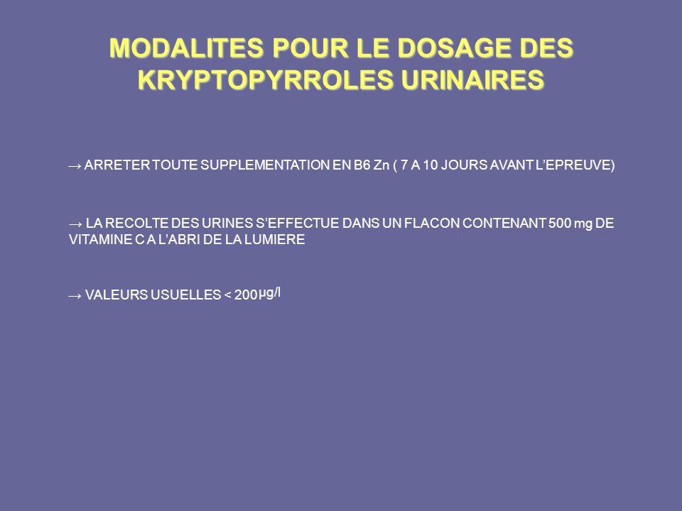MODALITES POUR LE DOSAGE DES KRYPTOPYRROLES URINAIRES ARRETER TOUTE SUPPLEMENTATION EN B6 Zn ( 7 A 10 JOURS AVANT LEPREUVE) LA RECOLTE DES URINES SEFF