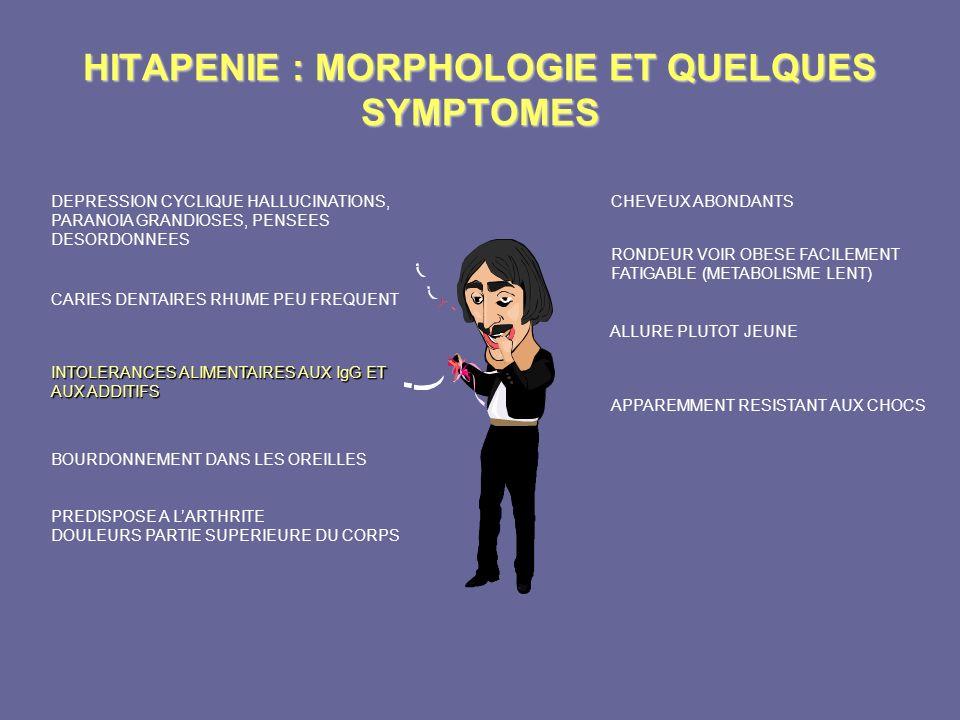 HITAPENIE : MORPHOLOGIE ET QUELQUES SYMPTOMES CHEVEUX ABONDANTS RONDEUR VOIR OBESE FACILEMENT FATIGABLE (METABOLISME LENT) ALLURE PLUTOT JEUNE APPAREM