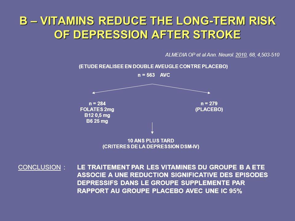 B – VITAMINS REDUCE THE LONG-TERM RISK OF DEPRESSION AFTER STROKE ALMEDIA OP et al Ann. Neurol. 2010, 68, 4,503-510 (ETUDE REALISEE EN DOUBLE AVEUGLE