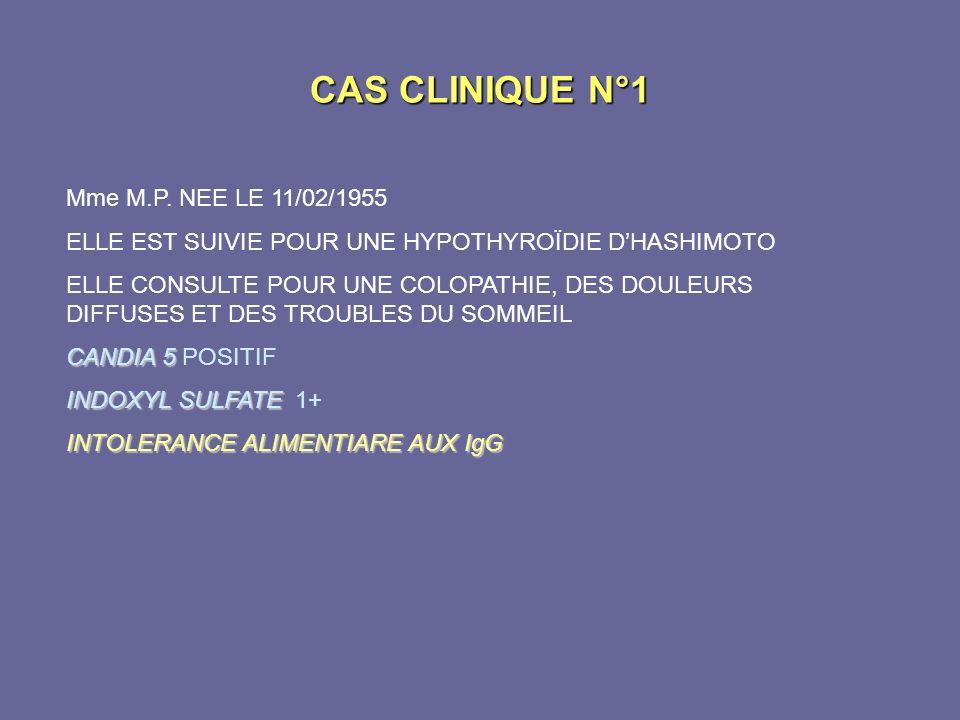 CAS CLINIQUE N°1 Mme M.P. NEE LE 11/02/1955 ELLE EST SUIVIE POUR UNE HYPOTHYROÏDIE DHASHIMOTO ELLE CONSULTE POUR UNE COLOPATHIE, DES DOULEURS DIFFUSES