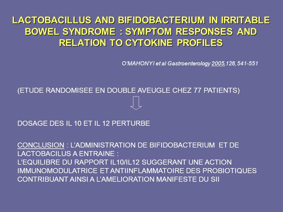 LACTOBACILLUS AND BIFIDOBACTERIUM IN IRRITABLE BOWEL SYNDROME : SYMPTOM RESPONSES AND RELATION TO CYTOKINE PROFILES CONCLUSION : LADMINISTRATION DE BI