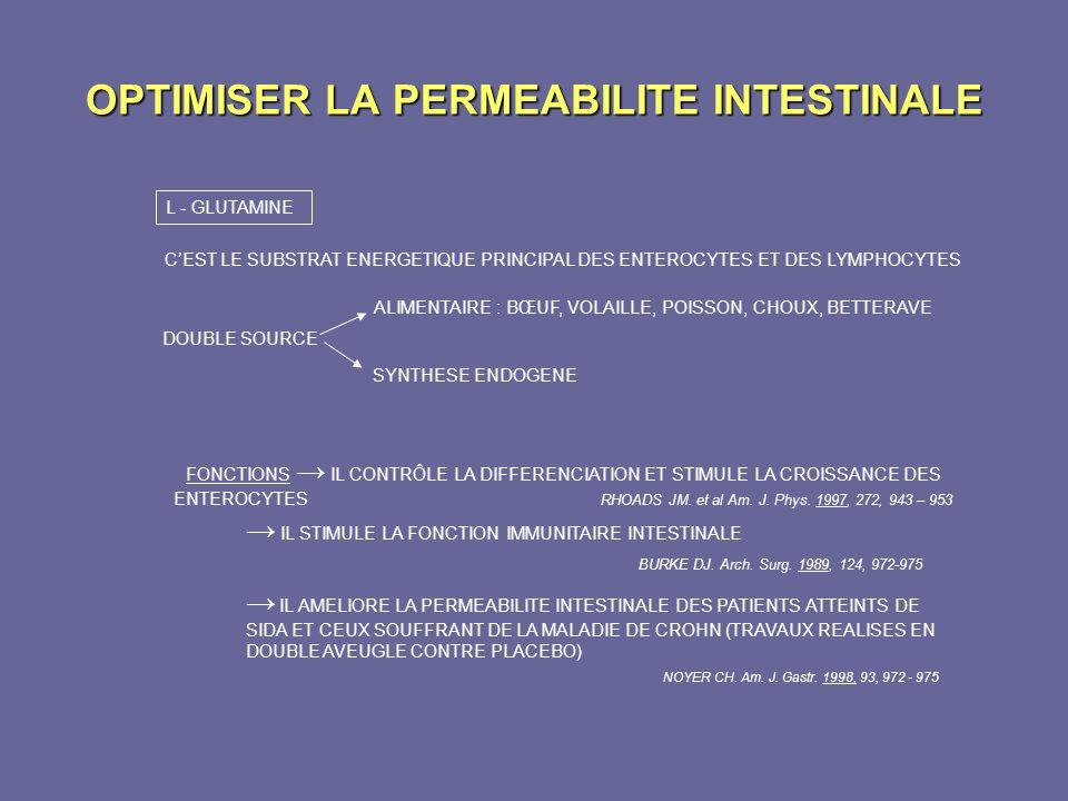 OPTIMISER LA PERMEABILITE INTESTINALE L - GLUTAMINE CEST LE SUBSTRAT ENERGETIQUE PRINCIPAL DES ENTEROCYTES ET DES LYMPHOCYTES DOUBLE SOURCE ALIMENTAIR