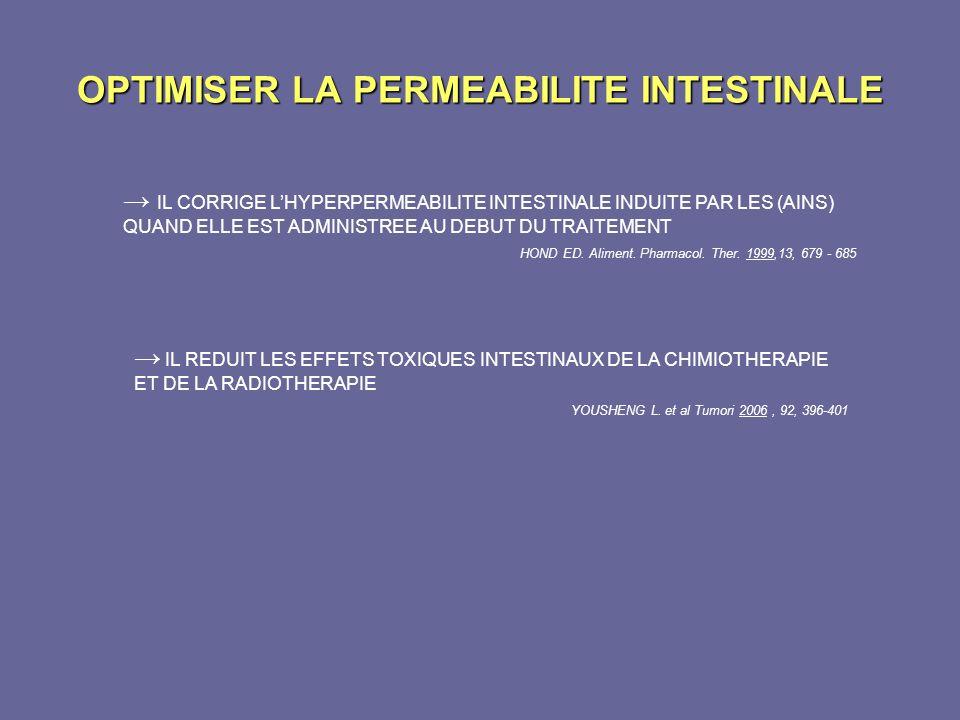OPTIMISER LA PERMEABILITE INTESTINALE IL CORRIGE LHYPERPERMEABILITE INTESTINALE INDUITE PAR LES (AINS) QUAND ELLE EST ADMINISTREE AU DEBUT DU TRAITEME