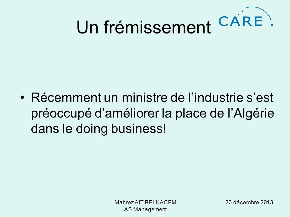 23 décembre 2013Mahrez AIT BELKACEM AS Management Un frémissement Récemment un ministre de lindustrie sest préoccupé daméliorer la place de lAlgérie dans le doing business!