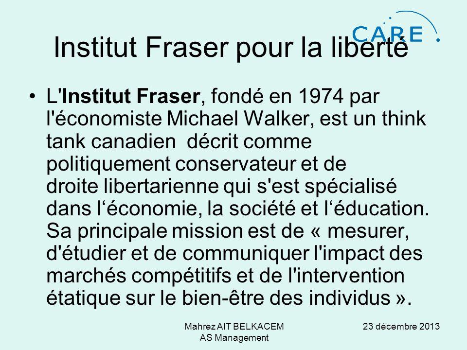 23 décembre 2013Mahrez AIT BELKACEM AS Management Institut Fraser pour la liberté L Institut Fraser, fondé en 1974 par l économiste Michael Walker, est un think tank canadien décrit comme politiquement conservateur et de droite libertarienne qui s est spécialisé dans léconomie, la société et léducation.