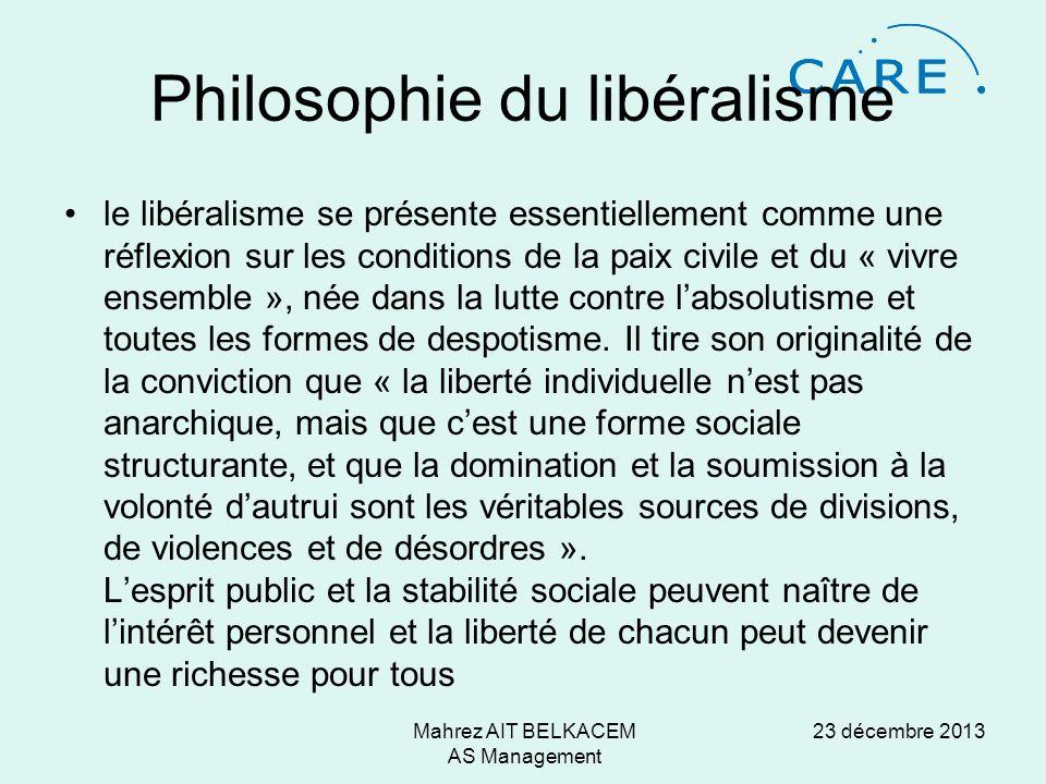 23 décembre 2013Mahrez AIT BELKACEM AS Management Philosophie du libéralisme le libéralisme se présente essentiellement comme une réflexion sur les conditions de la paix civile et du « vivre ensemble », née dans la lutte contre labsolutisme et toutes les formes de despotisme.