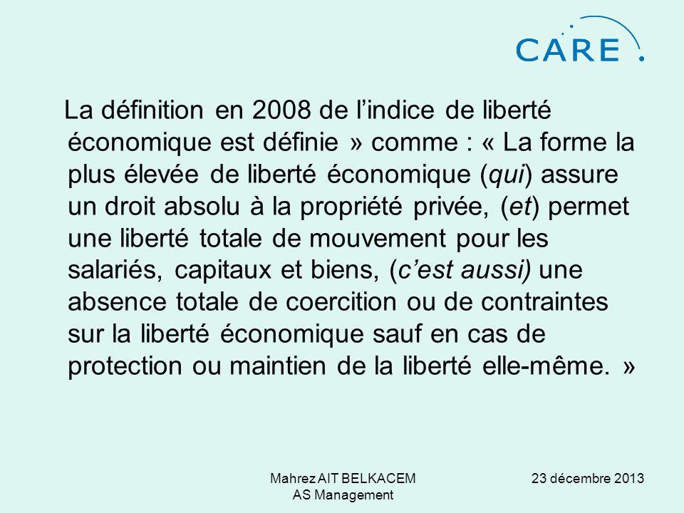 23 décembre 2013Mahrez AIT BELKACEM AS Management Les auteurs utilisent 42 items agrégés en 5 grands composants génériques 1.La taille du gouvernement: dépenses, fiscalité et entreprises (publiques).