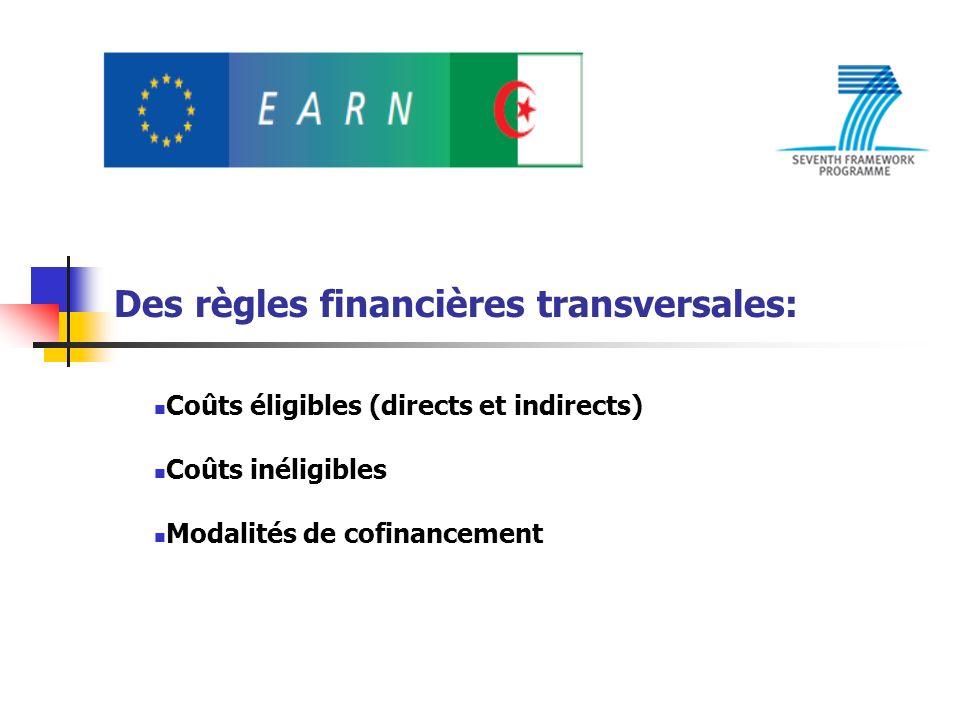 Des règles financières transversales: Coûts éligibles (directs et indirects) Coûts inéligibles Modalités de cofinancement