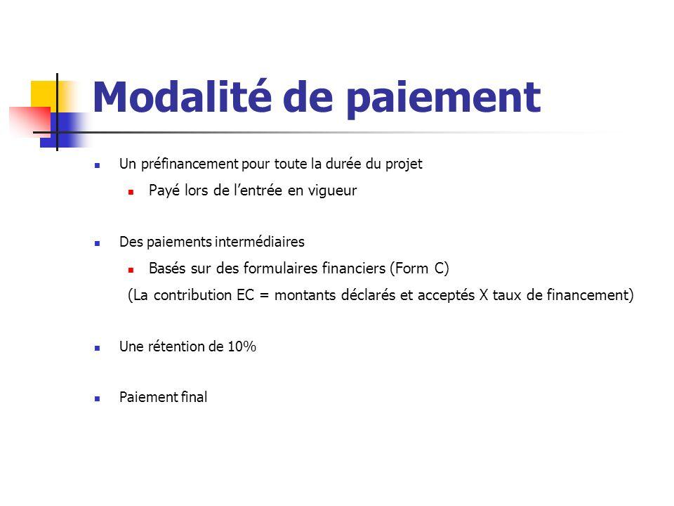 Modalité de paiement Un préfinancement pour toute la durée du projet Payé lors de lentrée en vigueur Des paiements intermédiaires Basés sur des formul