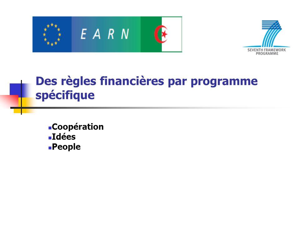 Des règles financières par programme spécifique Coopération Idées People