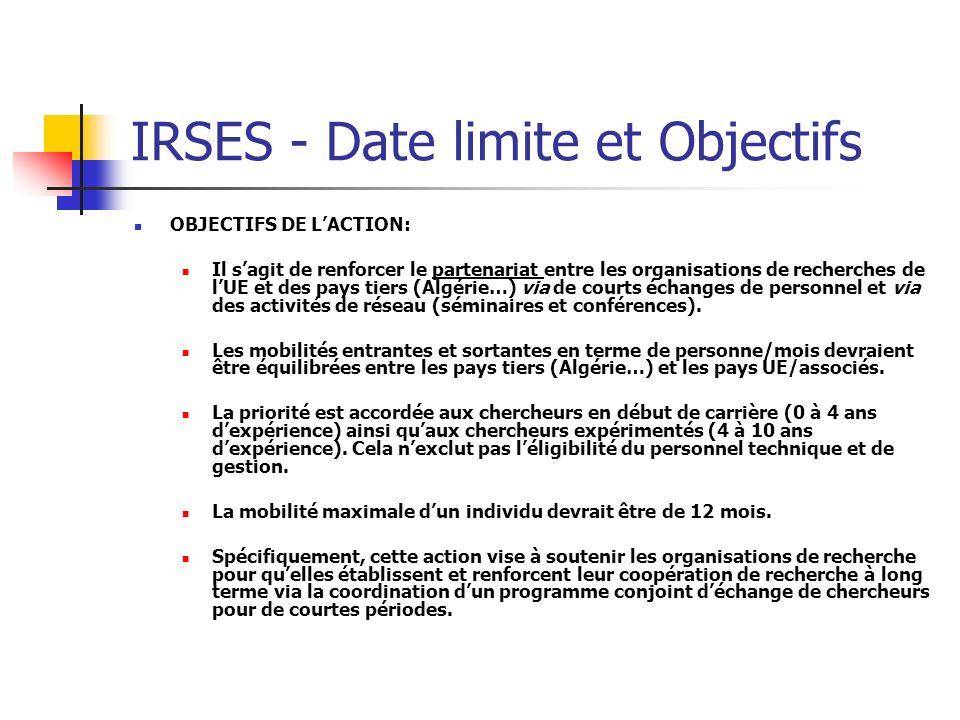 IRSES - Date limite et Objectifs OBJECTIFS DE LACTION: Il sagit de renforcer le partenariat entre les organisations de recherches de lUE et des pays t