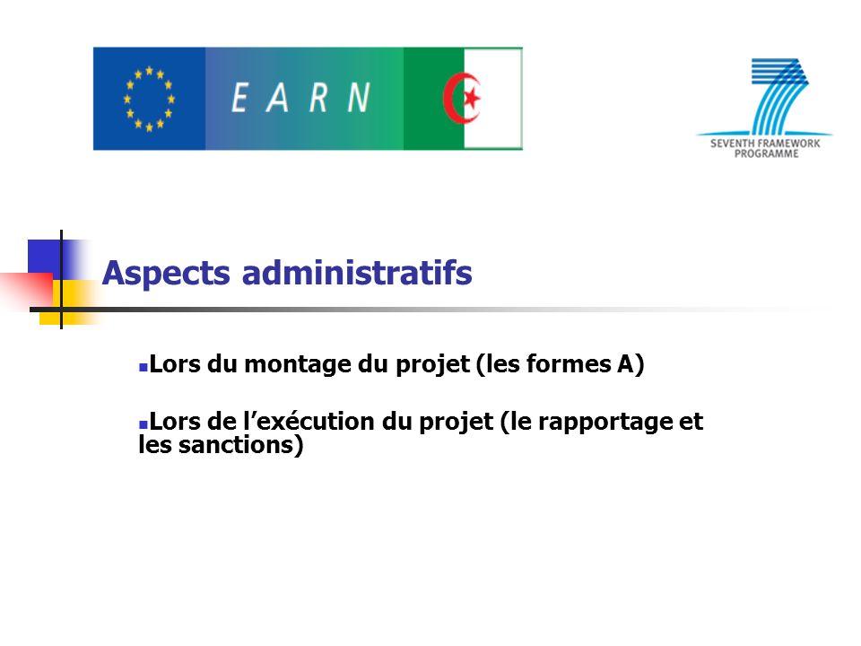 Aspects administratifs Lors du montage du projet (les formes A) Lors de lexécution du projet (le rapportage et les sanctions)