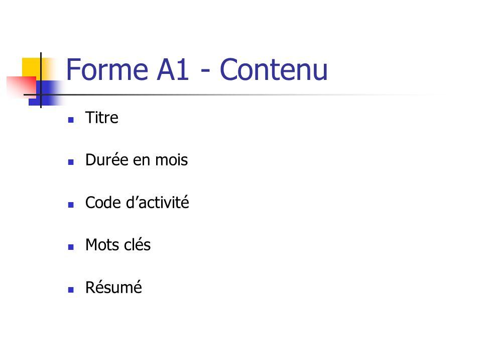 Forme A1 - Contenu Titre Durée en mois Code dactivité Mots clés Résumé