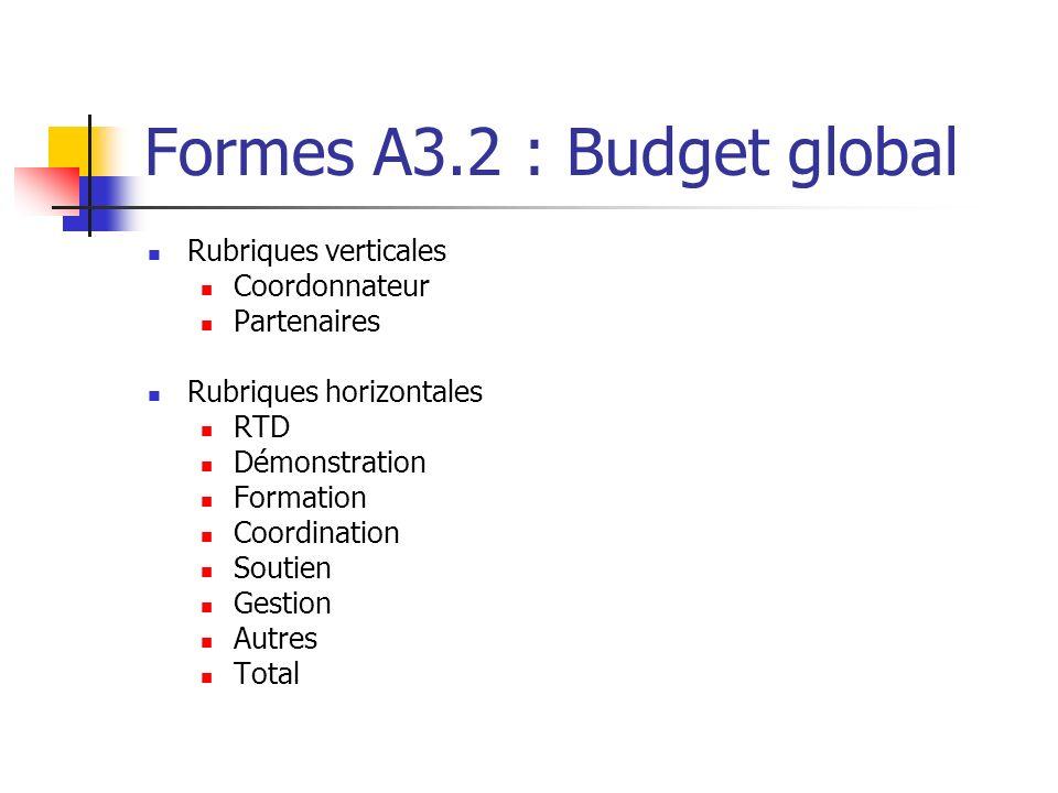 Formes A3.2 : Budget global Rubriques verticales Coordonnateur Partenaires Rubriques horizontales RTD Démonstration Formation Coordination Soutien Ges