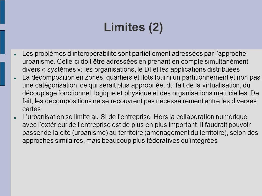 Limites (2) Les problèmes dinteropérabilité sont partiellement adressées par lapproche urbanisme.