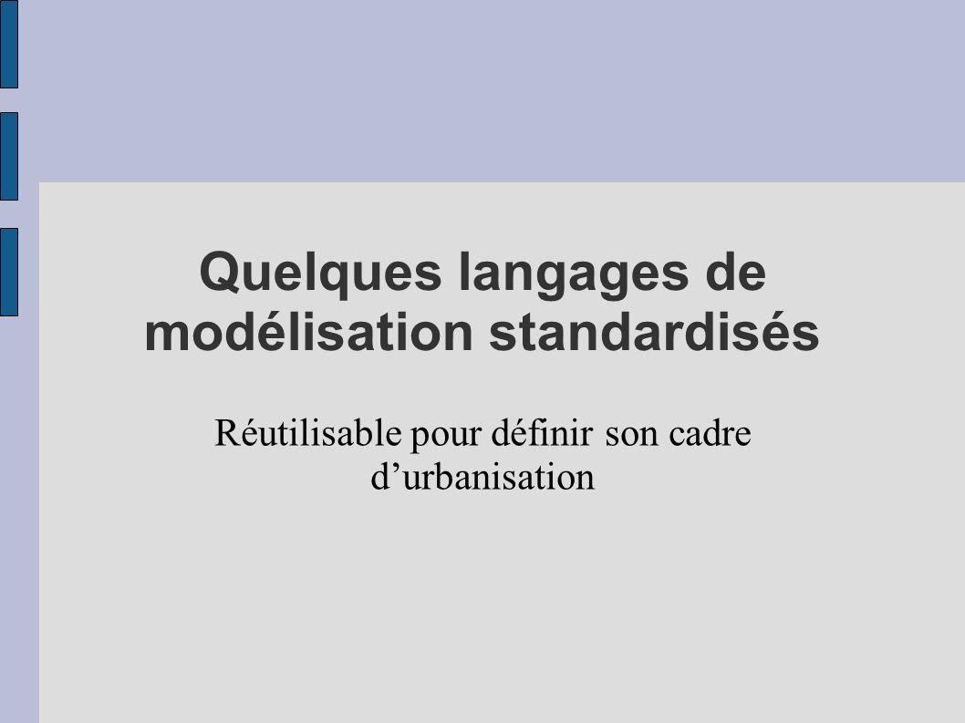 Quelques langages de modélisation standardisés Réutilisable pour définir son cadre durbanisation