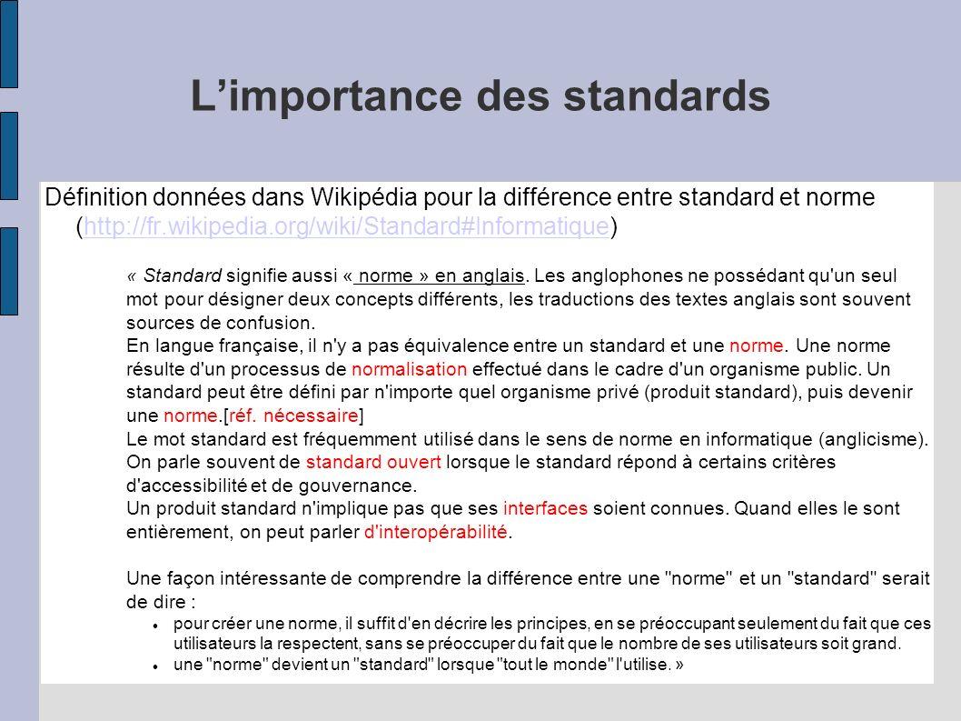 Limportance des standards Définition données dans Wikipédia pour la différence entre standard et norme (http://fr.wikipedia.org/wiki/Standard#Informatique)http://fr.wikipedia.org/wiki/Standard#Informatique « Standard signifie aussi « norme » en anglais.