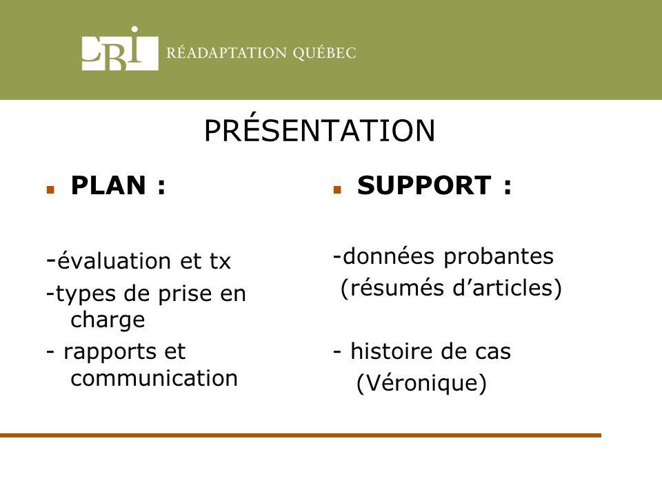 PRÉSENTATION PLAN : - évaluation et tx -types de prise en charge - rapports et communication SUPPORT : -données probantes (résumés darticles) - histoi