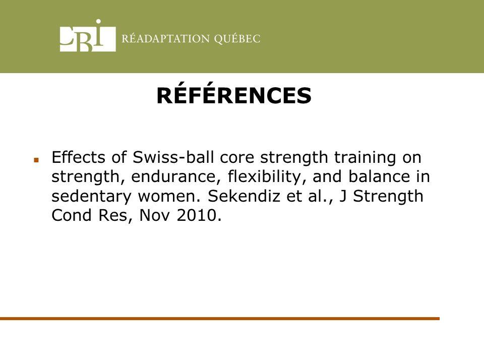 RÉFÉRENCES Effects of Swiss-ball core strength training on strength, endurance, flexibility, and balance in sedentary women. Sekendiz et al., J Streng
