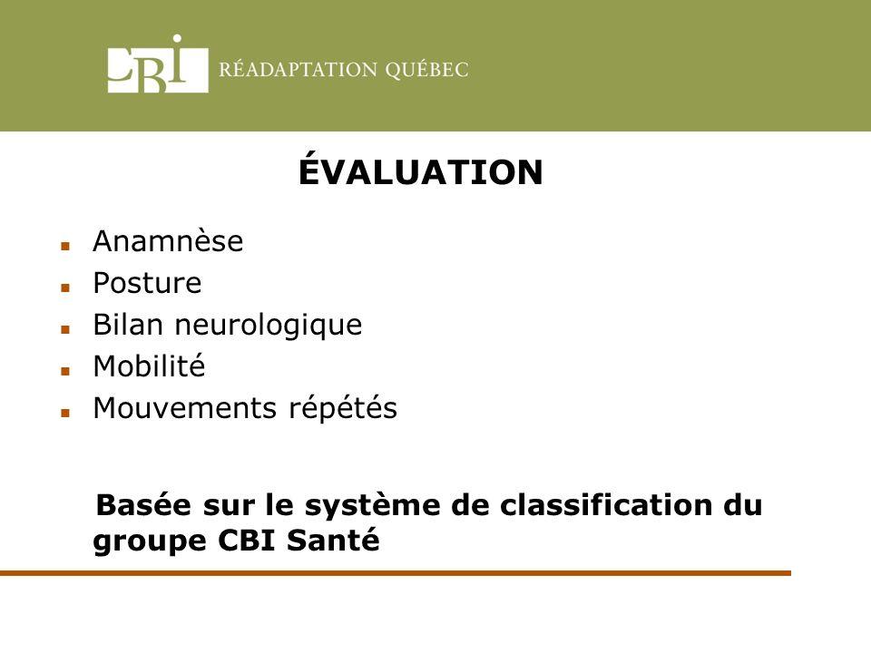 ÉVALUATION Anamnèse Posture Bilan neurologique Mobilité Mouvements répétés Basée sur le système de classification du groupe CBI Santé
