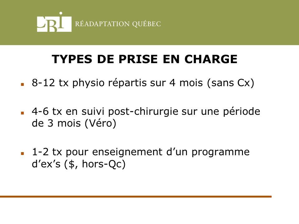 TYPES DE PRISE EN CHARGE 8-12 tx physio répartis sur 4 mois (sans Cx) 4-6 tx en suivi post-chirurgie sur une période de 3 mois (Véro) 1-2 tx pour ense