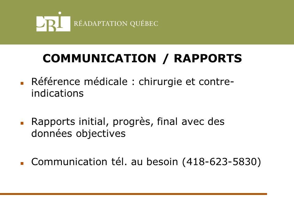 COMMUNICATION / RAPPORTS Référence médicale : chirurgie et contre- indications Rapports initial, progrès, final avec des données objectives Communicat