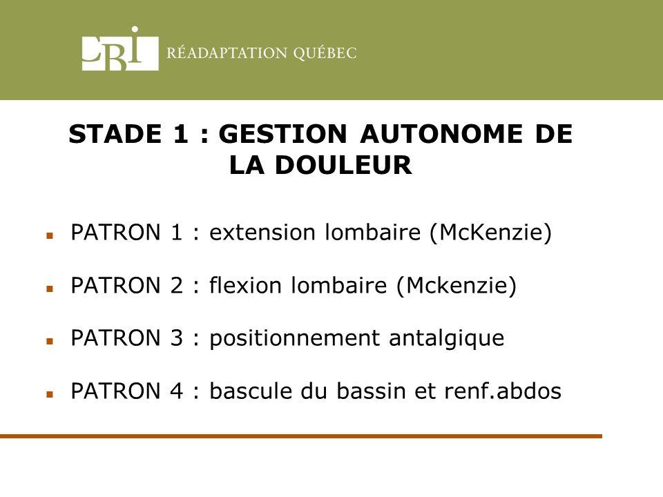 STADE 1 : GESTION AUTONOME DE LA DOULEUR PATRON 1 : extension lombaire (McKenzie) PATRON 2 : flexion lombaire (Mckenzie) PATRON 3 : positionnement ant