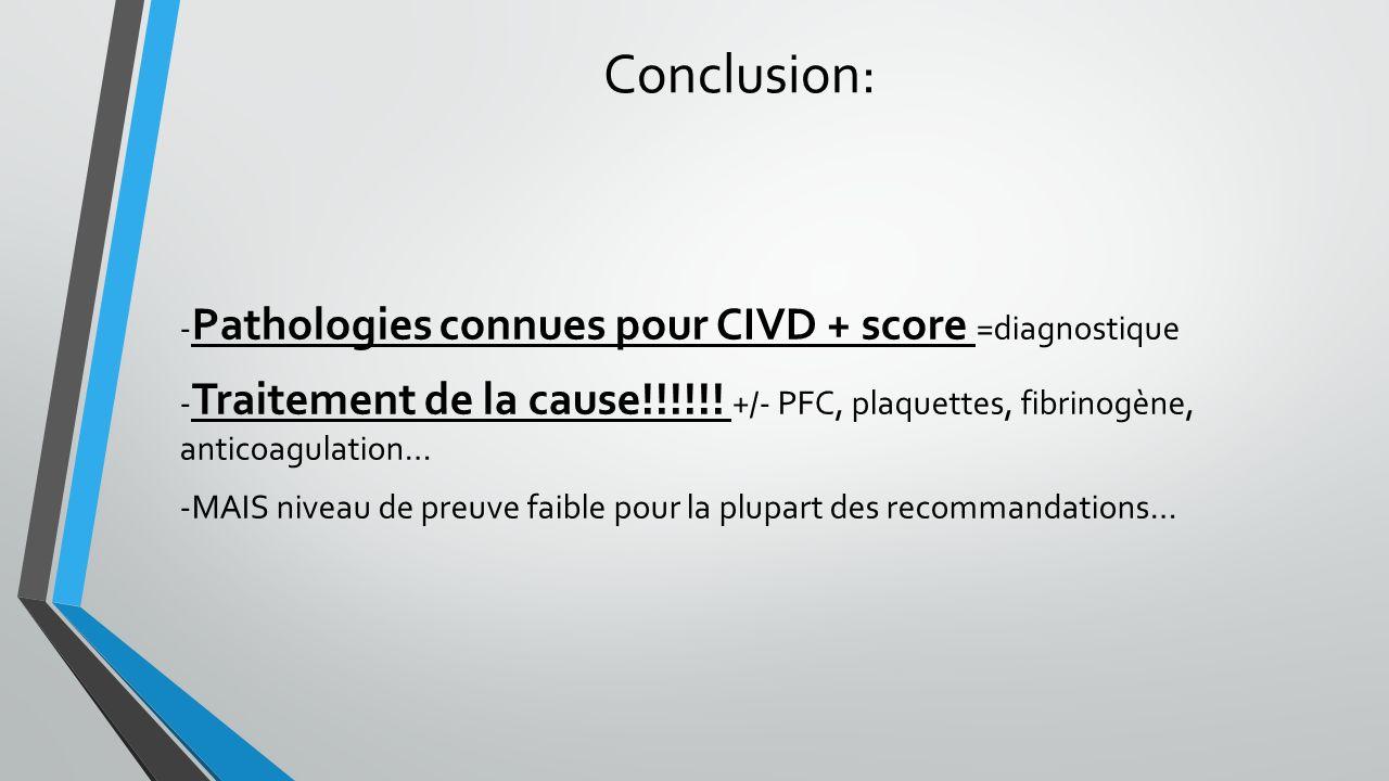 Conclusion: - Pathologies connues pour CIVD + score =diagnostique - Traitement de la cause!!!!!! +/- PFC, plaquettes, fibrinogène, anticoagulation… -M