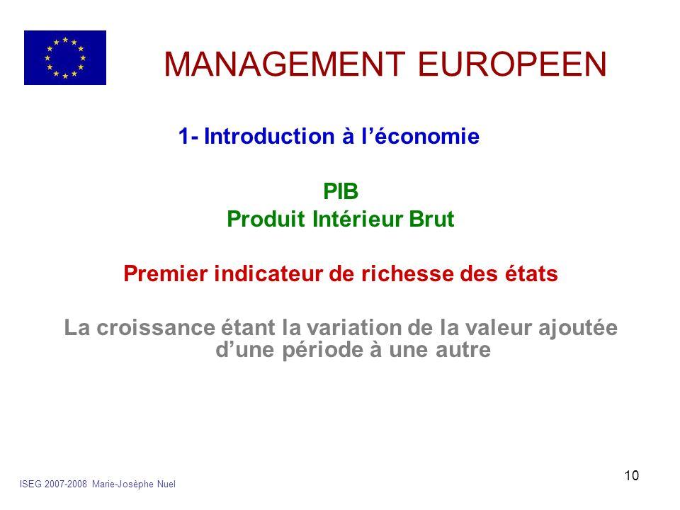 10 MANAGEMENT EUROPEEN 1- Introduction à léconomie PIB Produit Intérieur Brut Premier indicateur de richesse des états La croissance étant la variatio