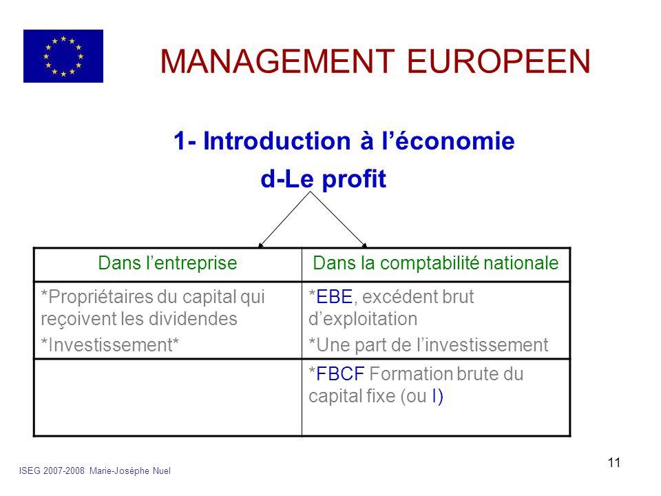 11 MANAGEMENT EUROPEEN 1- Introduction à léconomie d-Le profit ISEG 2007-2008 Marie-Josèphe Nuel Dans lentrepriseDans la comptabilité nationale *Propr