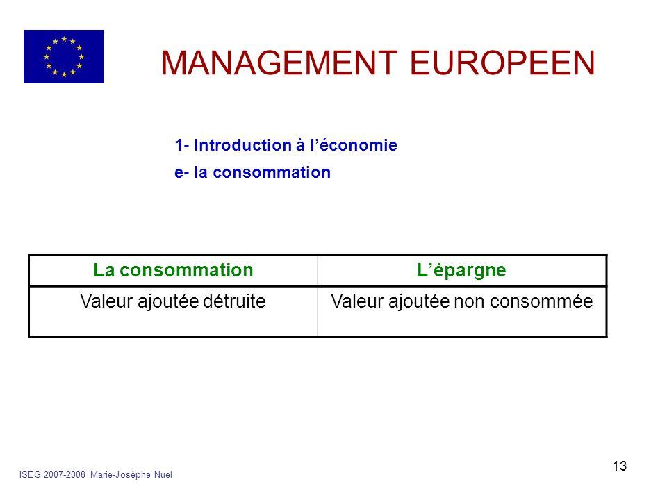 13 MANAGEMENT EUROPEEN 1- Introduction à léconomie e- la consommation ISEG 2007-2008 Marie-Josèphe Nuel La consommationLépargne Valeur ajoutée détruit