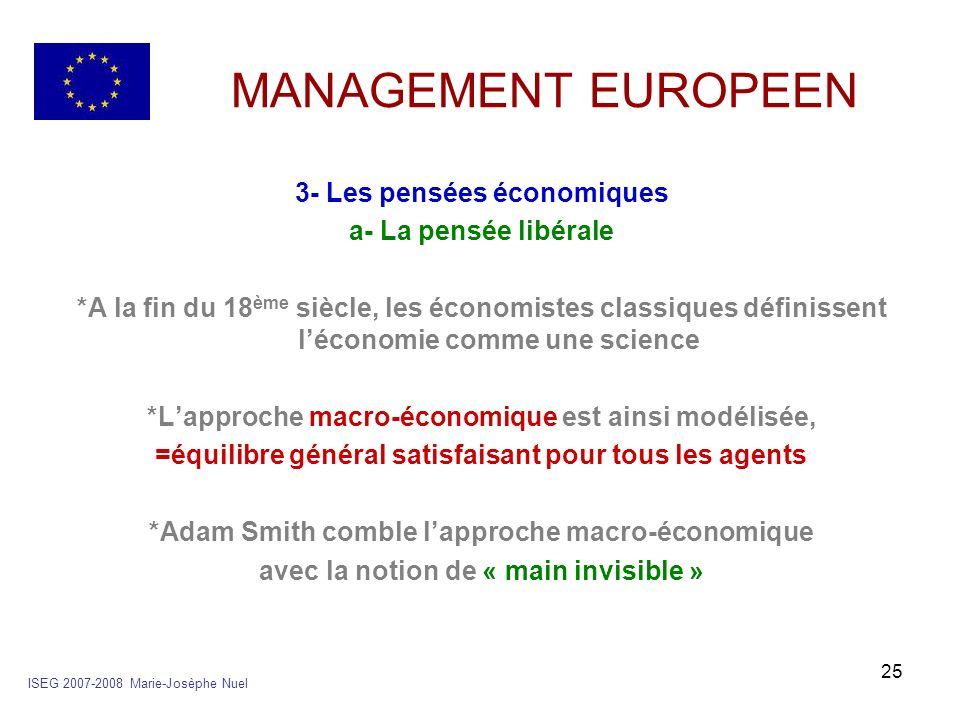 25 MANAGEMENT EUROPEEN 3- Les pensées économiques a- La pensée libérale *A la fin du 18 ème siècle, les économistes classiques définissent léconomie c