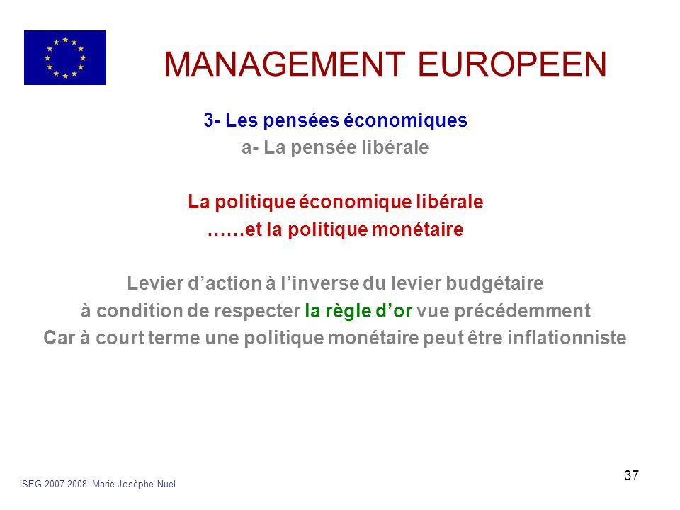 37 MANAGEMENT EUROPEEN 3- Les pensées économiques a- La pensée libérale La politique économique libérale ……et la politique monétaire Levier daction à