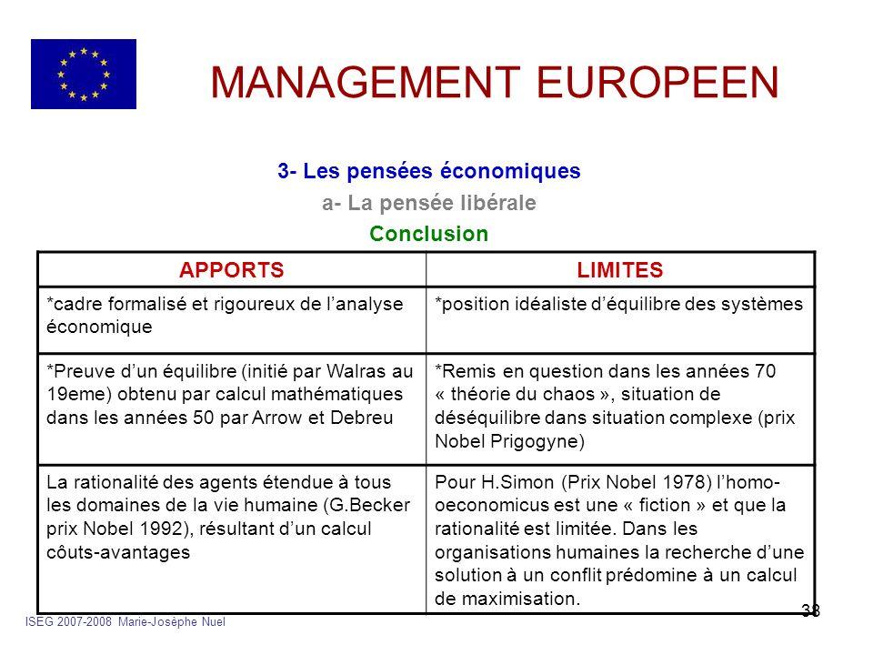 38 MANAGEMENT EUROPEEN 3- Les pensées économiques a- La pensée libérale Conclusion ISEG 2007-2008 Marie-Josèphe Nuel APPORTSLIMITES *cadre formalisé e
