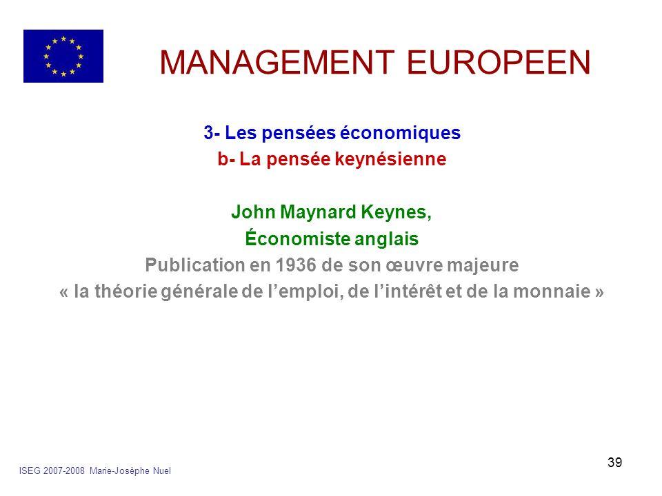 39 MANAGEMENT EUROPEEN 3- Les pensées économiques b- La pensée keynésienne John Maynard Keynes, Économiste anglais Publication en 1936 de son œuvre ma